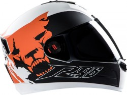 Steelbird Beast Glossy White with Orange