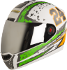 Steelbird Air Rage Glossy White with Light Green&Orange