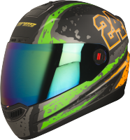 Steelbird Air Rage Glossy Black With Light Green&Orange