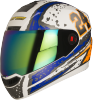 Steelbird Air Rage Glossy White with Blue&Orange