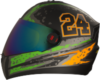 Steelbird Air Rage Glossy Black With Orange&Light Green
