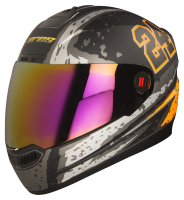 Steelbird Air Rage Glossy Black With Silver&Orange