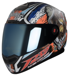 Steelbird Air Griffon Glossy Black with Orange ( Fitted With Clear Visor Extra Blue Chrome Visor Free)
