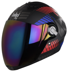 SBA-2 Mat Robot Red with Blue( Fitted With Clear Visor Extra Rainbow Chrome Visor Free)