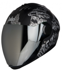 SBA-2 Strength Matt Black with Silver ( Fitted With Clear Visor  Extra Silver Chrome Visor Free)