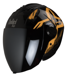 SBA-3 Excel Mat Black With Orange ( Fitted With Clear Visor  Extra Silver Chrome Visor Free)