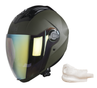 SBA-2 Mat Battle Green Night Vision Gold Visor (With EPS Chin Guard Protection)