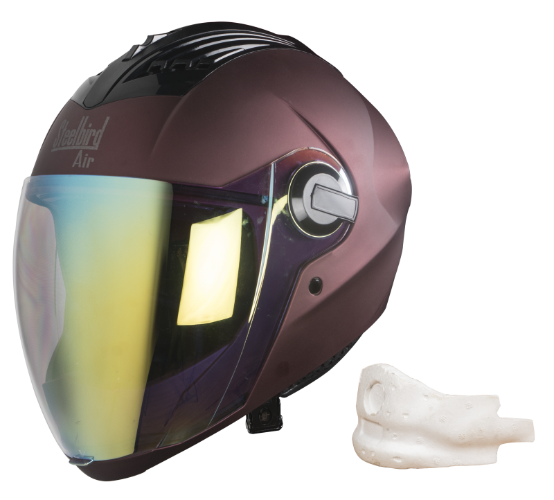 SBA-2 Mat Maroon Night Vision With Gold Visor (With EPS Chin Guard Protection)