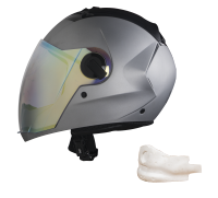 SBA-2 Mat Silver Night Vision With Gold Visor (With EPS Chin Guard Protection)