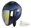SBA-2 Mat Yamaha Blue Night Vision With Gold Visor (With EPS Chin Guard Protection)