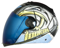 SBA-2 Super Wings Mat Black With Blue   Blue Visor
