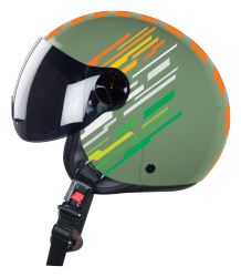 SBH-16 Skipper Matt Battle Green With Smoke Visor( Fitted With Clear Visor Extra Smoke Visor Free)