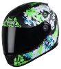 SBH-11 Vision Skull Mat Black With Fluo Green