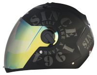 SBA -2 Tank Double Visor Mat Black With Grey Night Vision With Silver Inner Visor