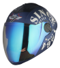 SBA -2 Tank Double Visor Mat Y. Blue With White Night Vision With Blue Inner Visor