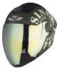SBA -2 Tank Double Visor Mat Battle Green With White Night Vision With Rainbow Inner Visor