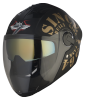 SBA -2 Tank Double Visor Mat Black With Gold Gold Inner Visor