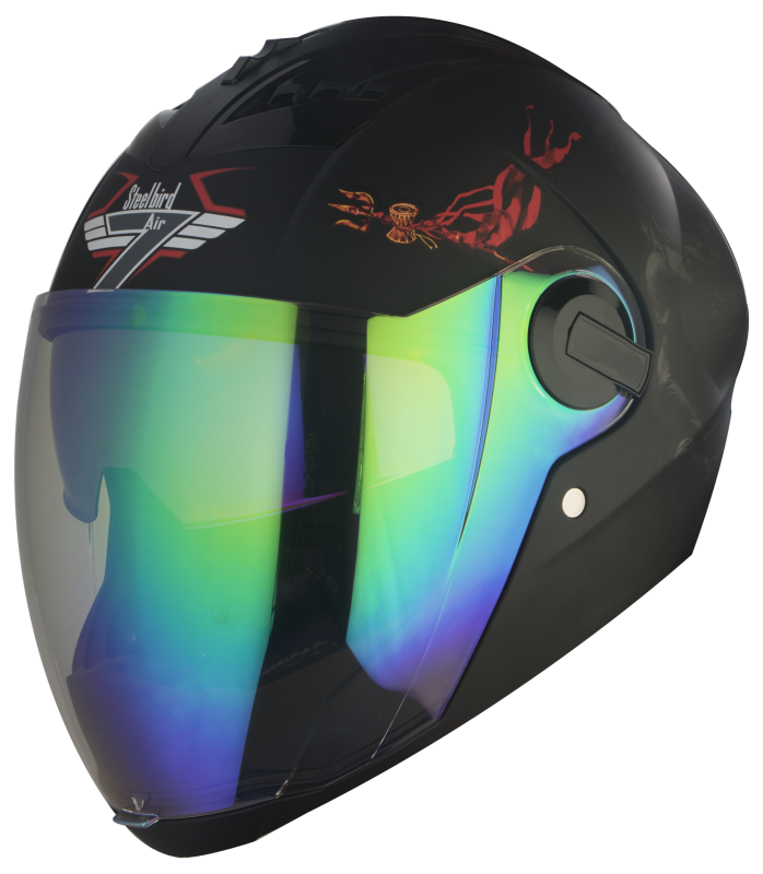 SBA-2 Mahadev Double Visor Mat Black With Grey Night Vision With Rainbow Inner Visor