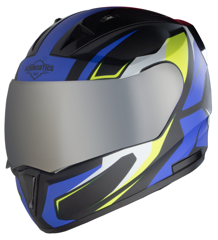 SA-1 Aviate Mat Black With Blue (Fitted With Clear Visor Extra Silver Chrome Visor Free)