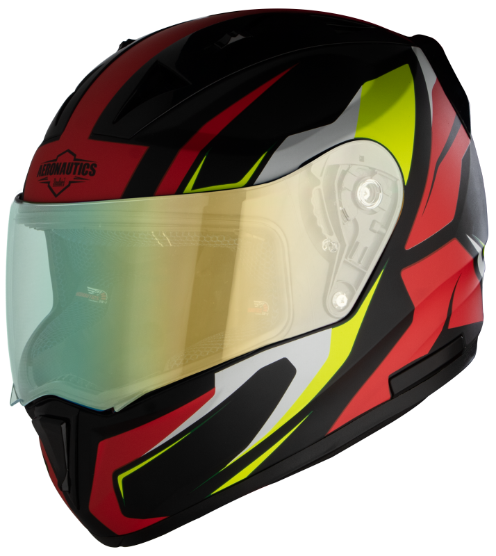 SA-1 Aviate Mat Black With Red(Fitted With Clear Visor Extra Green Night Vision Visor Free)