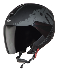 SBH-5 Eve Stark Mat Black With Grey( Fitted With Clear Visor Extra Smoke Visor Free)