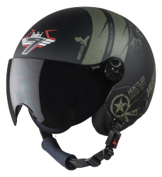 SBH-16 Hustler Mat Black With Green( Fitted With Clear Visor Extra Smoke Visor Free)