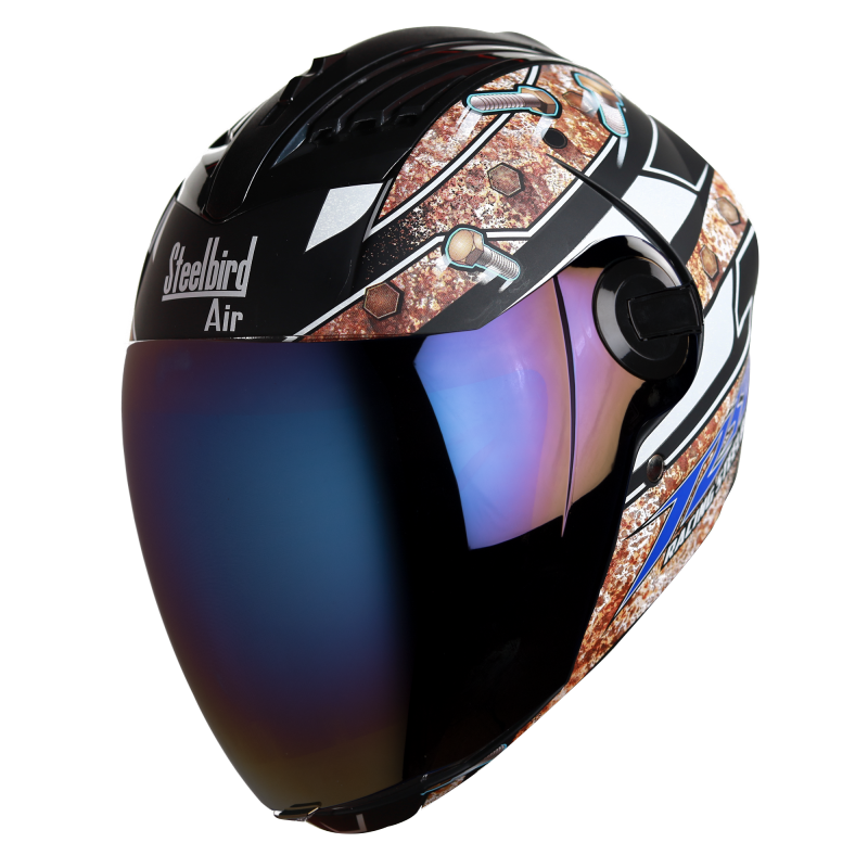 SBA-2 Reflective Screw Mat Black With Blue  Blue Chrome Visor