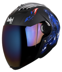 SBA-2 Seal Mat Black With Blue  ( Fitted With Clear Visor Extra Blue Chrome Visor Free)
