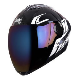 SBA-2 Moon Glossy Black With Blue Chrome Visor