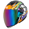 SBA-2 Skull Chrome Mat Black With Orange With Rainbow Visor