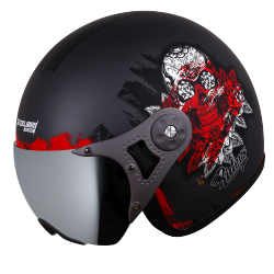 SB-40 DOT RIDERZ METALIC GREY WITH SILVER CHROME VISOR (WITH EXTRA CLEAR VISOR)