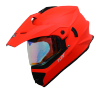 SB-42 Turf Single Visor Glossy Fluo Red With Gold Night Vision Visor (With Extra Clear Visor)