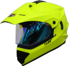 SB-42 Turf Single Visor Glossy Fluo Neon With Blue Night Vision Visor (With Extra Clear Visor)