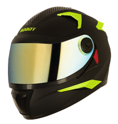 SBH-17 ROBOT FLUORESCENT EDITION MAT BLACK WITH FLUO NEON (FITTED WITH CLEAR VISOR EXTRA GOLD CHROME VISOR)
