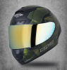 SA-2 ESCAPE MAT BLACK WITH BATTLE GREEN GOLD CHROME VISOR (FITTED WITH CLEAR WITH EXTRA CHROME VISOR FREE)