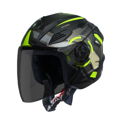 SBA-6 GRAVITY MAT BLACK WITH NEON (FITTED WITH CLEAR VISOR EXTRA SMOKE VISOR FREE)