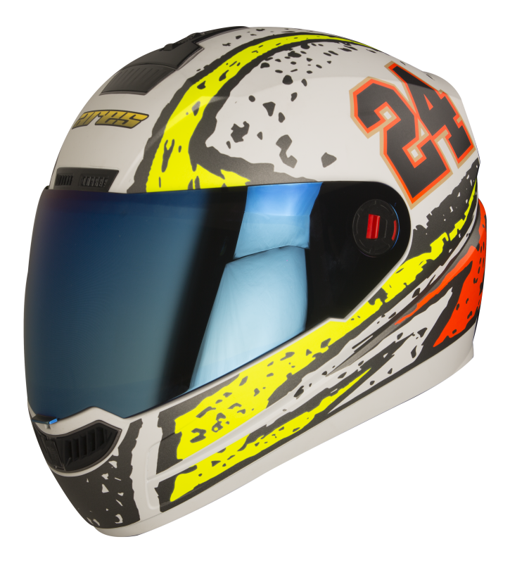 Steelbird Air Rage Glossy White With Yellow&Red