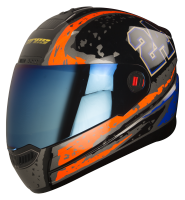 Steelbird Air Rage Glossy Black With Red&Blue