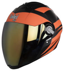 SBA-2 Streak Glossy Black with Orange( Fitted With Clear Visor Extra Gold Chrome Visor Free)