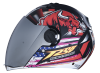 SBA-2 Horn Matt Black with Red ( Fitted With Clear Visor  Extra Silver Chrome Visor Free)