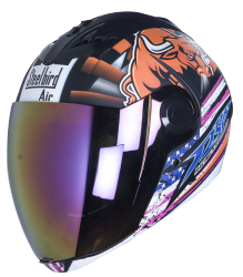 SBA-2 Horn Matt Black with Orange ( Fitted With Clear Visor  Extra Gold Chrome Visor Free)