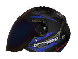 SBA-3 Canvas Matt Black with Blue ( Fitted With Clear Visor  Extra Blue Chrome Visor Free)