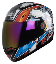 SBA-1 Pin Mat Black With Blue ( Fitted With Clear Visor  Extra Rainbow Chrome Visor Free)