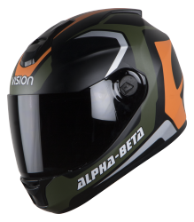 SBH-11 Alpha Beta Glossy Battle Green With Orange ( Fitted With Clear Visor Extra Smoke Visor Free)