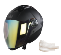 SBA-2 Mat Black Night Vision With Gold Visor (With EPS Chin Guard Protection)