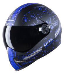 SBH-1 Adonis R2K Glossy Black With Blue ( Fitted With Clear Visor Extra Smoke Visor Free)