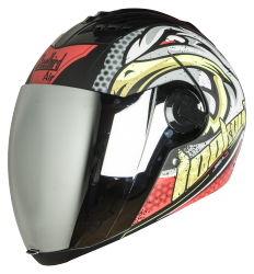 SBA-2 Super Wings Mat Black With Red (Fitted With Clear Visor Extra Chrome Silver Visor Free)