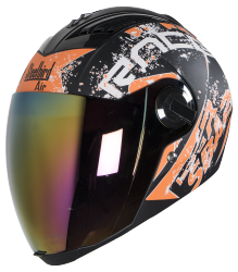 SBA-2 Race Mat Black Orange ( Fitted With Clear Visor  Extra Gold Chrome Visor Free)