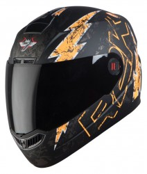 SBA-1 R2K LIVE MAT BLACK WITH ORANGE ( Fitted With Clear Visor  Extra Smoke Visor Free)