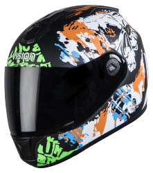 SBH-11 Vision Skull Mat Black With Orange( Fitted With Clear Visor Extra Smoke Visor Free)
